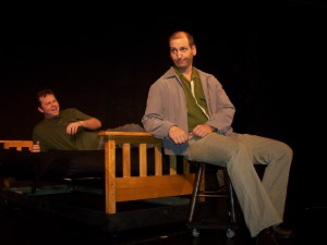 "Tom Bottelsen and David Cheaney in ""Cabfare For The Common Man"", Theatre Neo, Los Angeles"
